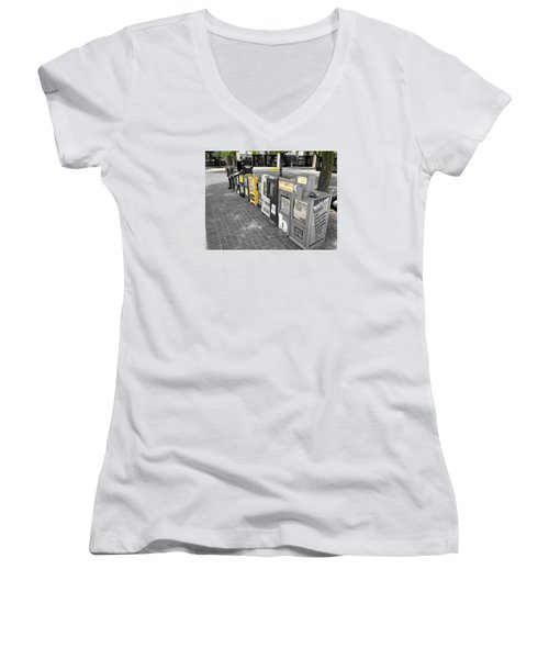 Newspaper Boxes Women's V-Neck (Athletic Fit)