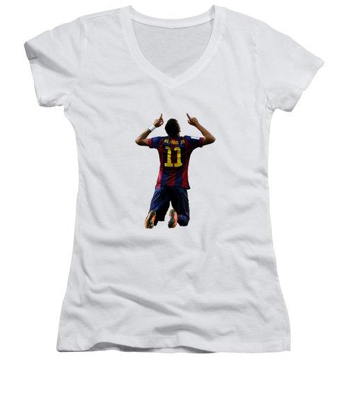 Neymar Women's V-Neck T-Shirt (Junior Cut) by Armaan Sandhu