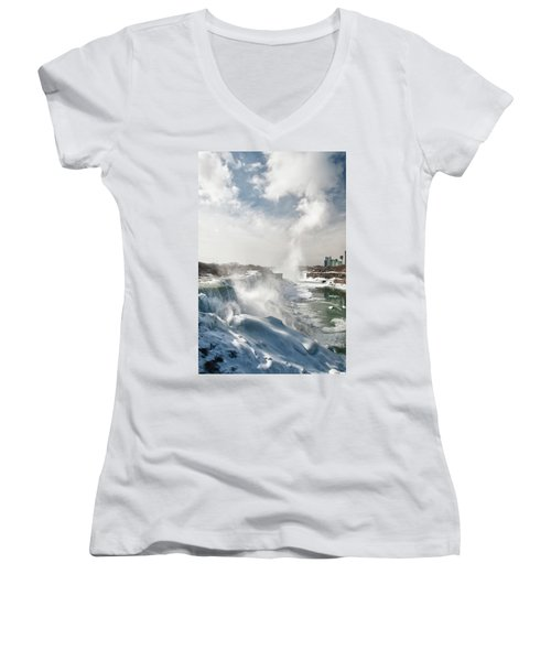 Women's V-Neck T-Shirt (Junior Cut) featuring the photograph Niagara Falls 4601 by Guy Whiteley