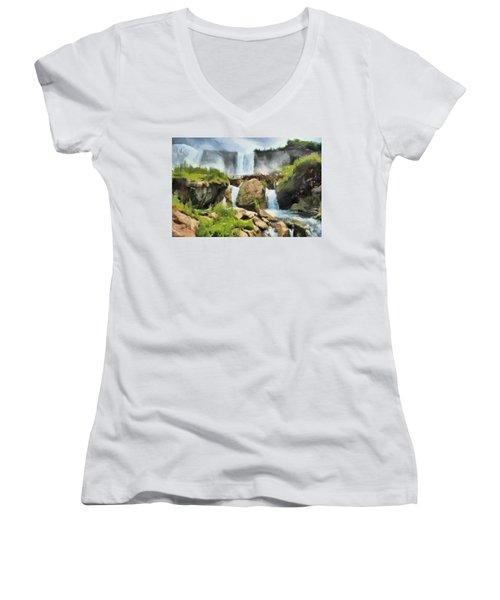 Niagara Falls Cave Of The Winds Women's V-Neck