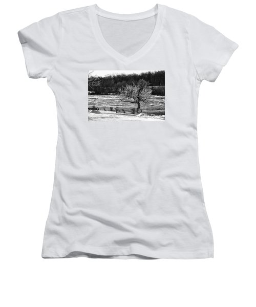 Women's V-Neck T-Shirt (Junior Cut) featuring the photograph Niagara Falls Ice 4514 by Guy Whiteley