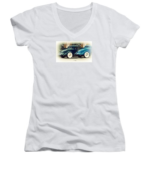 Women's V-Neck T-Shirt (Junior Cut) featuring the photograph Nice Wheels by Chris Armytage