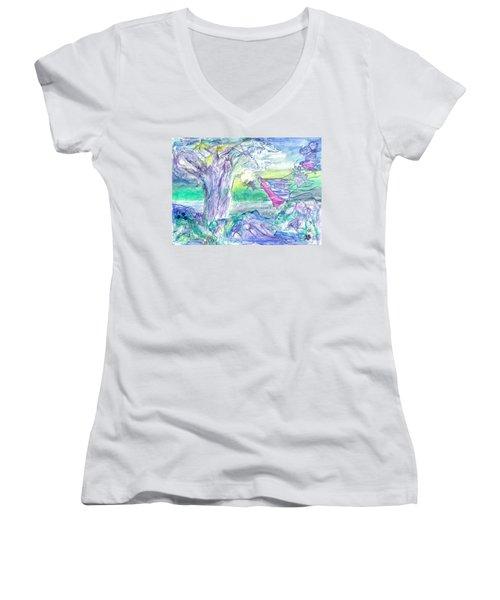 Night Flight Women's V-Neck T-Shirt (Junior Cut) by Veronica Rickard