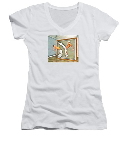 Women's V-Neck T-Shirt (Junior Cut) featuring the painting Night At The Art Gallery - Martial Artists by Wayne Pascall