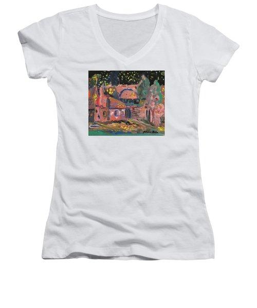 Night Landscape Women's V-Neck T-Shirt (Junior Cut) by Rita Fetisov