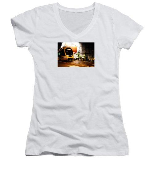 Night Walk In Milan Women's V-Neck T-Shirt (Junior Cut) by Cesare Bargiggia