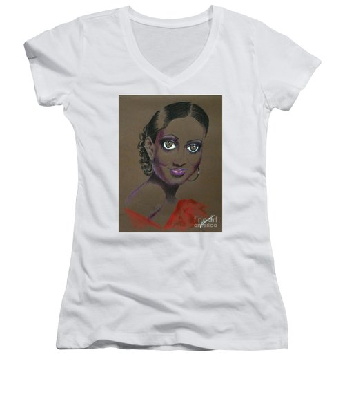 Nina Mae -- African-american Actress Portrait Women's V-Neck (Athletic Fit)
