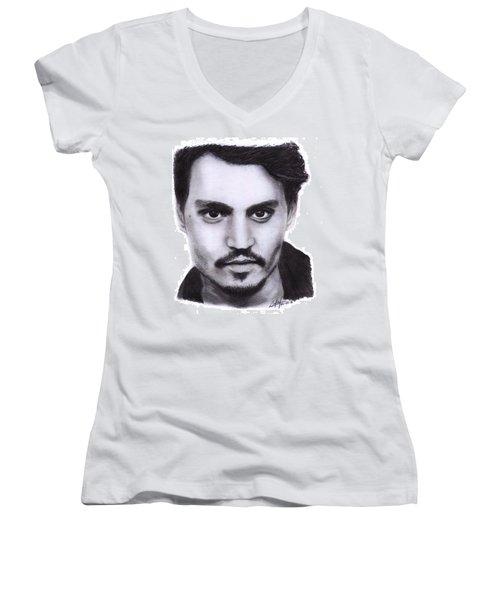 Johnny Depp Drawing By Sofia Furniel Women's V-Neck (Athletic Fit)