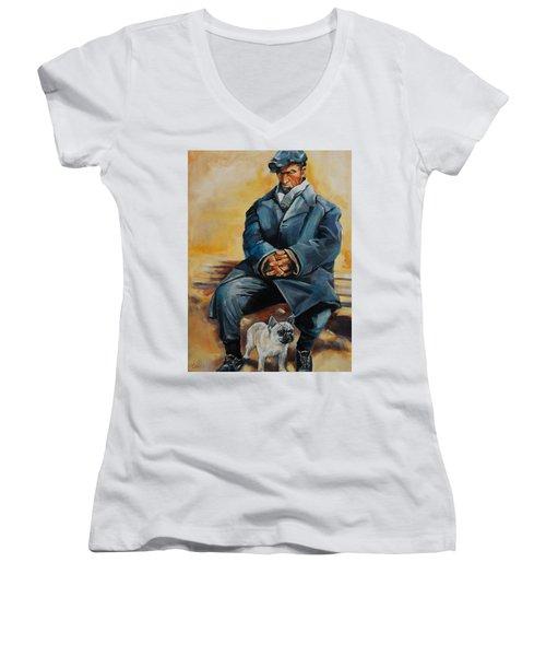 No Permanent Address Women's V-Neck T-Shirt (Junior Cut) by Jean Cormier