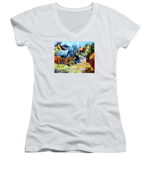 Women's V-Neck T-Shirt (Junior Cut) featuring the painting No Through Road by Rae Andrews