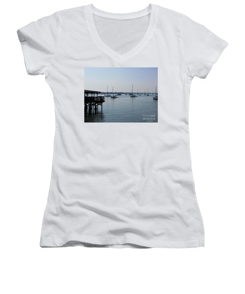 Women's V-Neck T-Shirt (Junior Cut) featuring the photograph No Wind by Greg Patzer