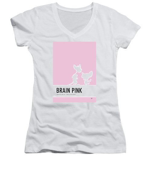 No01 My Minimal Color Code Poster Pinky And The Brain Women's V-Neck (Athletic Fit)