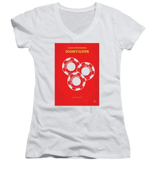 No056 My Oceans 11 Minimal Movie Poster Women's V-Neck T-Shirt (Junior Cut) by Chungkong Art