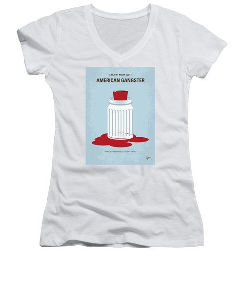 Women's V-Neck T-Shirt (Junior Cut) featuring the digital art No748 My American Gangster Minimal Movie Poster by Chungkong Art