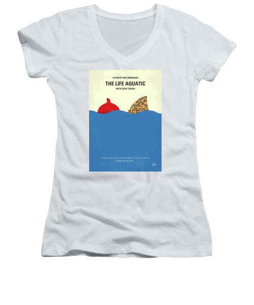 Women's V-Neck T-Shirt (Junior Cut) featuring the digital art No774 My The Life Aquatic With Steve Zissou Minimal Movie Poster by Chungkong Art