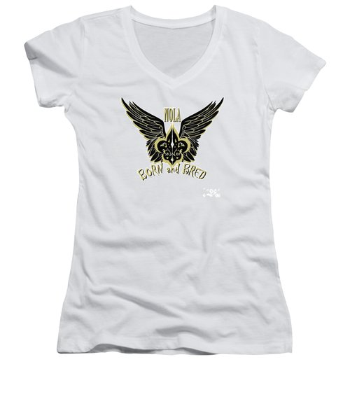 Women's V-Neck T-Shirt (Junior Cut) featuring the painting Nola by Tbone Oliver
