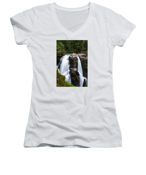Nooksack Falls Women's V-Neck T-Shirt (Junior Cut) by Ryan Manuel