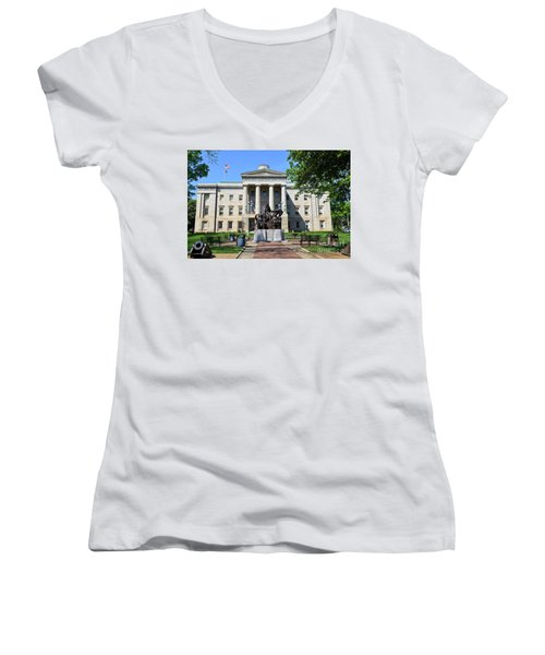 North Carolina State Capitol Building With Statue Women's V-Neck
