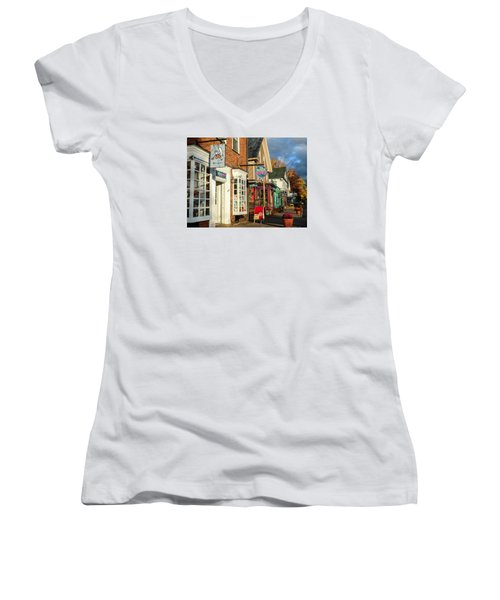 Women's V-Neck T-Shirt (Junior Cut) featuring the photograph North Conway Village 2 by Nancy De Flon