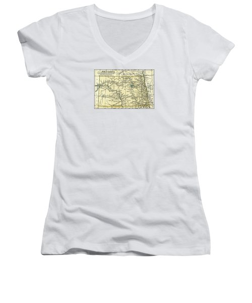 North Dakota Antique Map 1891 Women's V-Neck T-Shirt (Junior Cut) by Phil Cardamone