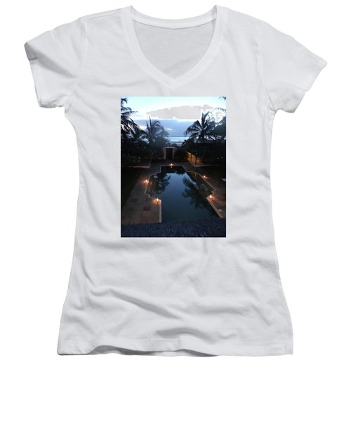 North - Eastern African Home - Sundown Over The Swimming Pool Women's V-Neck T-Shirt (Junior Cut) by Exploramum Exploramum