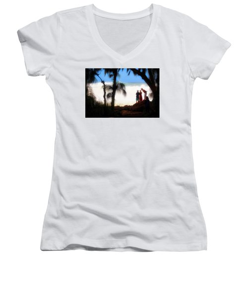 Women's V-Neck T-Shirt (Junior Cut) featuring the photograph North Shore Wave Spotting by Jim Albritton