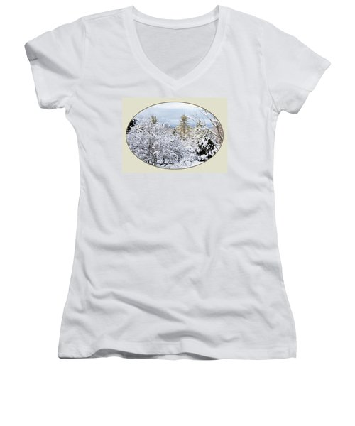 northeast USA photography button Women's V-Neck (Athletic Fit)