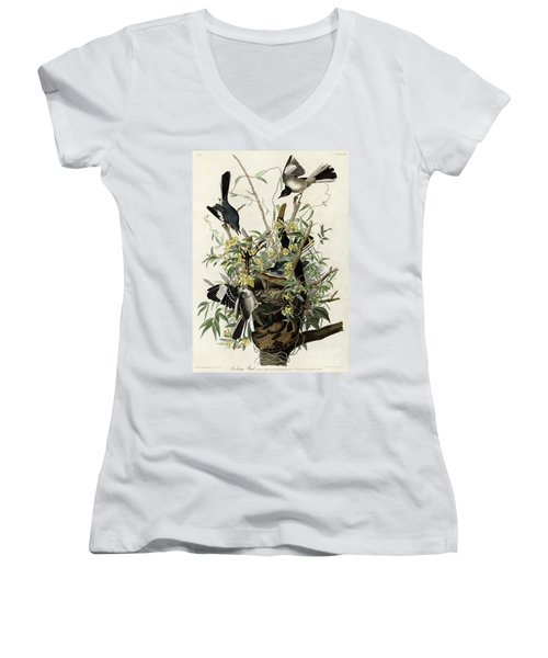Northern Mockingbird Women's V-Neck T-Shirt (Junior Cut) by Granger