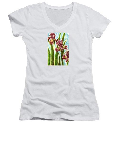 Nostalgic Irises Women's V-Neck