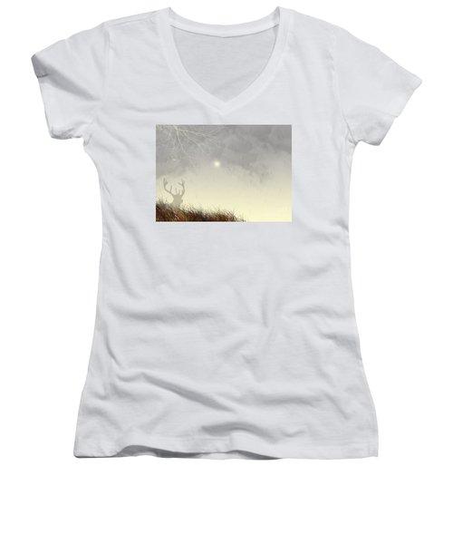 Nostalgic Moments Women's V-Neck T-Shirt (Junior Cut) by Trilby Cole