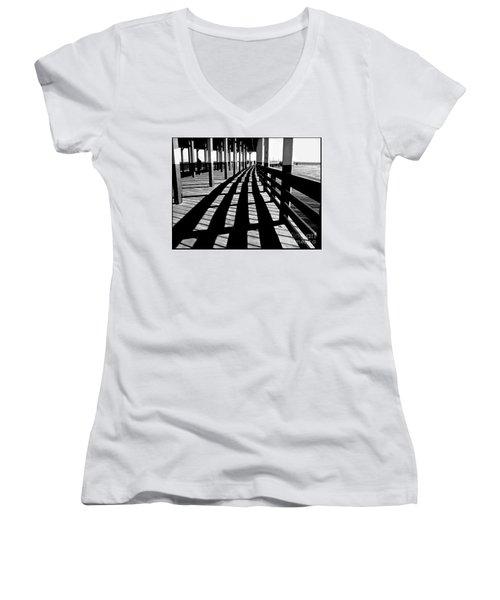 Nostalgic Walk On The Pier Women's V-Neck T-Shirt (Junior Cut) by Carol F Austin