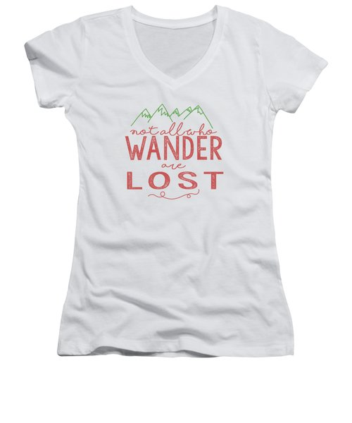 Not All Who Wander Are Lost In Pink Women's V-Neck (Athletic Fit)