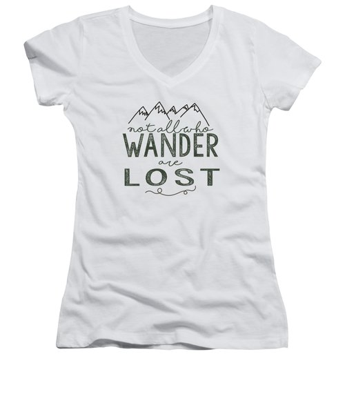 Not All Who Wander Green Women's V-Neck