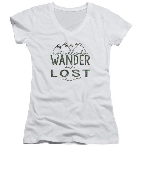 Not All Who Wander Green Women's V-Neck T-Shirt (Junior Cut)
