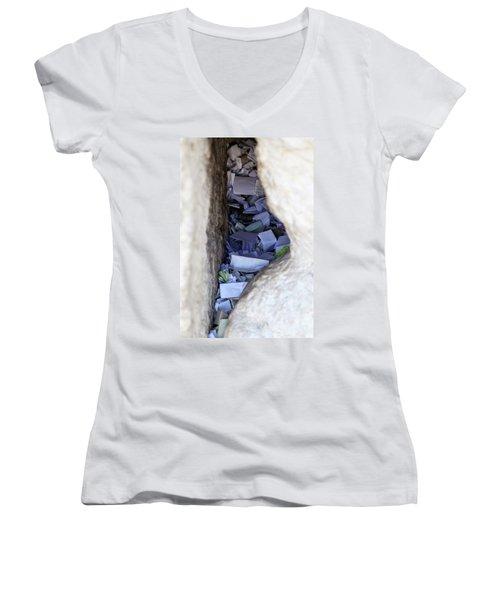 Notes In The Wailing Wall  Women's V-Neck T-Shirt (Junior Cut) by Yoel Koskas