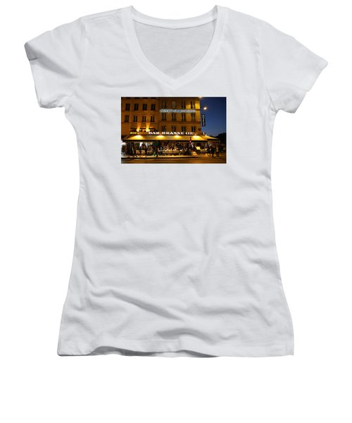 Women's V-Neck T-Shirt (Junior Cut) featuring the photograph Notre Dame Cafe by Andrew Fare