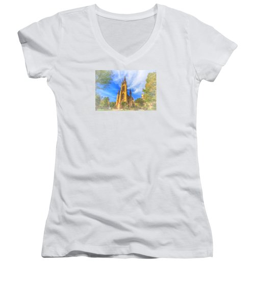 Notre Dame University 5 Women's V-Neck T-Shirt (Junior Cut) by David Haskett