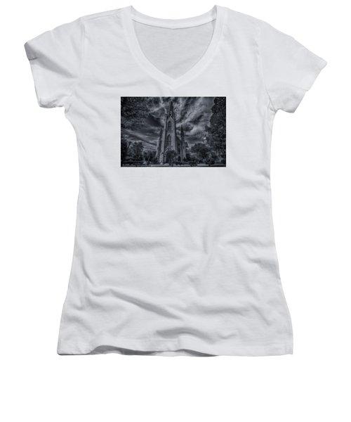 Women's V-Neck T-Shirt (Junior Cut) featuring the photograph Notre Dame University Church by David Haskett