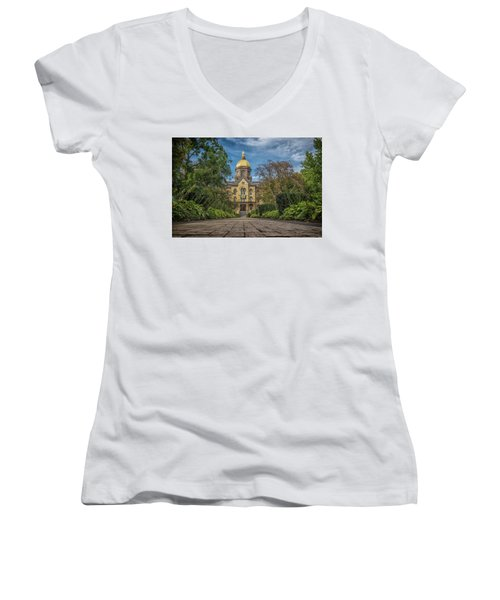 Notre Dame University Q1 Women's V-Neck T-Shirt (Junior Cut) by David Haskett