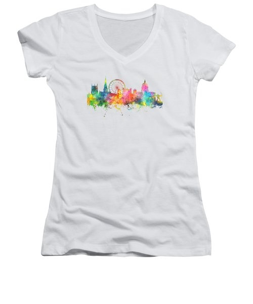 Nottingham  England Skyline Women's V-Neck T-Shirt (Junior Cut) by Marlene Watson