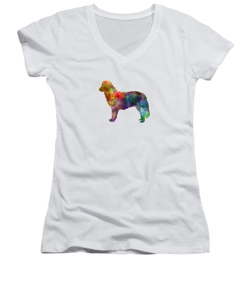 Nova Scotia Duck Tolling Retriever In Watercolor Women's V-Neck T-Shirt (Junior Cut) by Pablo Romero