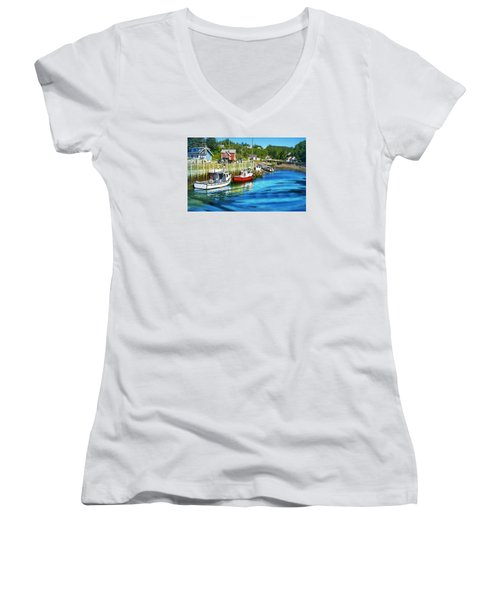 Nova Scotia Women's V-Neck T-Shirt (Junior Cut) by Robin Regan