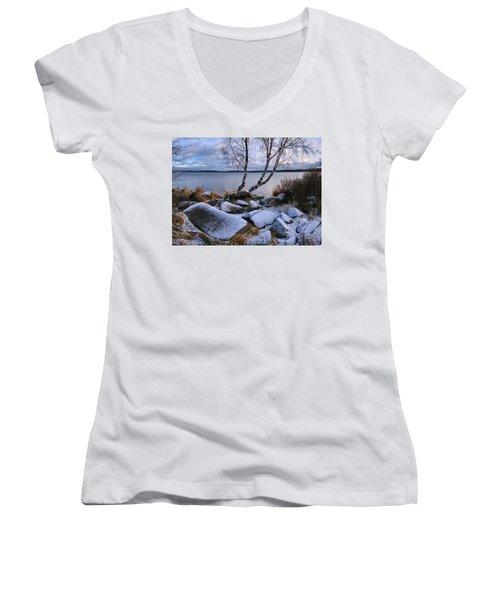 November Day Women's V-Neck T-Shirt (Junior Cut) by Vladimir Kholostykh