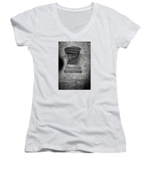Nowhere Stair Women's V-Neck T-Shirt (Junior Cut) by Tammy Schneider