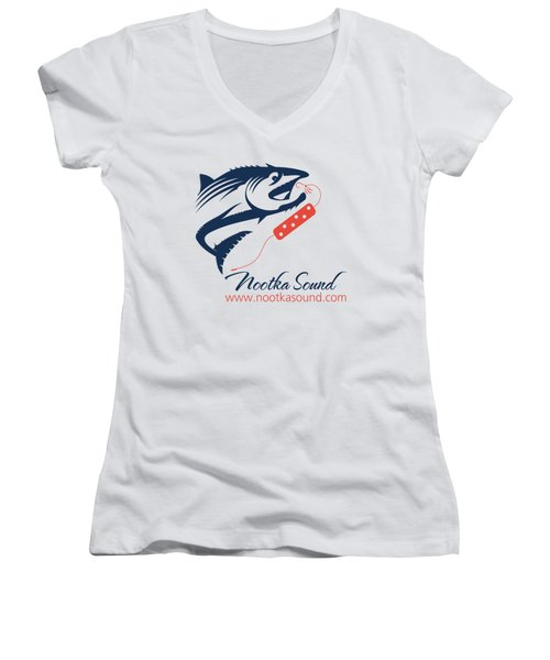 Ns Logo #3 Women's V-Neck T-Shirt (Junior Cut) by Nootka Sound