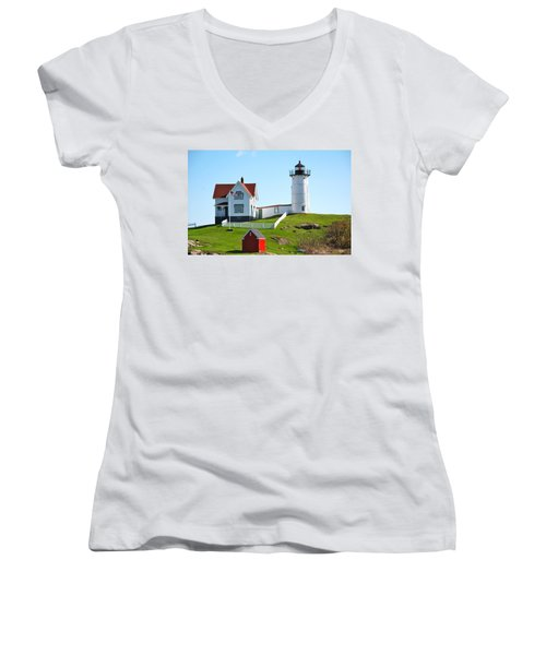 Nubble Lighthouse Women's V-Neck T-Shirt (Junior Cut) by Eric Tressler