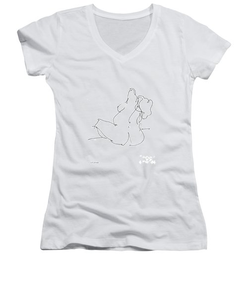 Nude-female-drawings-20 Women's V-Neck