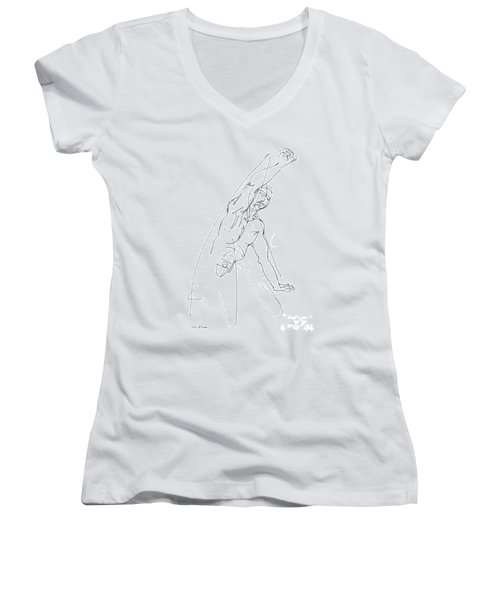 Nude_male_drawing_25 Women's V-Neck