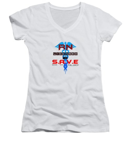 Nurses Licensed To Save Women's V-Neck (Athletic Fit)