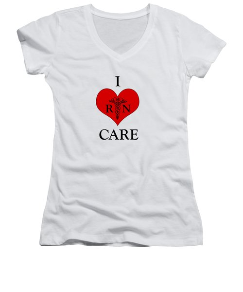 Nursing I Care -  Red Women's V-Neck T-Shirt (Junior Cut) by Mark Kiver